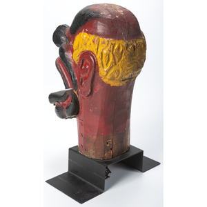 A Carved and Painted Charlie's Hat Carnival Game Head, The Philadelphia Toboggan Company