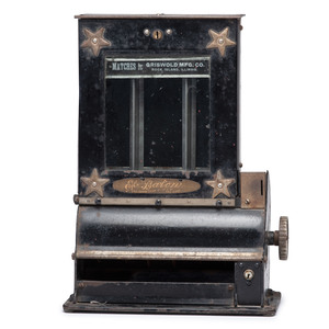 A Star-Decorated Three-Column Penny Match Dispenser
