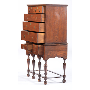 A William and Mary Figured Cherrywood and Oak Flat Top High Chest of Drawers, Mid-Atlantic States, circa 1750