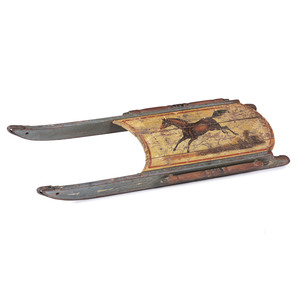 A Wooden Child's Sled with Painted Horse Decoration