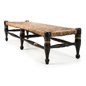 A Painted Bench with Rush Seat