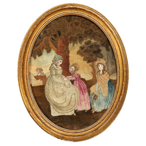 An American Silkwork Embroidered Watercolor Mourning Picture of Three Ladies, Circa 1810