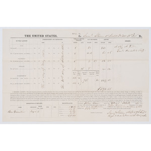 """[AFRICAN AMERICANA -- CIVIL WAR] Pay document recording the loaning of horses and a """"private servant"""" to the Union Army. N.p., 30 September 1862."""