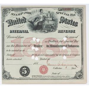[RECONSTRUCTION] - RAPIER, James T. (1837-1883). Internal Revenue Document Signed. N.p., n.d.