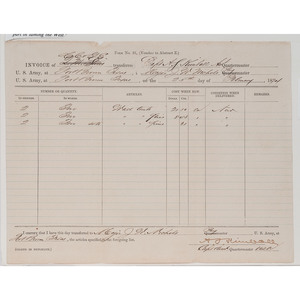 [AFRICAN AMERICANA - BUFFALO SOLDIERS]. Form No. 31, Invoice of camp equipment for Captain Amos Samuel Kimball. Fort Brown, TX, 25 February 1874.