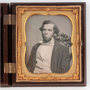 [DAGUERREOTYPE - PORTRAITURE]. Sixth plate daguerreotype of a possibly African American gentleman housed in a union case. N.p., n.d.