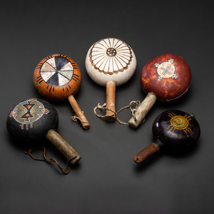 Group of Pueblo Polychrome Gourd Rattles, From the Collection of Dick Jemison, Alabama