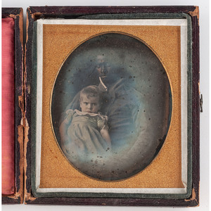 [DAGUERREOTYPE - PORTRAITURE]. Sixth plate daguerreotype of an African American man with a white baby, plus.