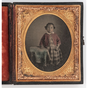 [EARLY PHOTOGRAPHY - PORTRAITURE]. A collection of 11 sixth and ninth plate portraits of children, highlighted by a hand-tinted ambrotype of a young African American girl, including:
