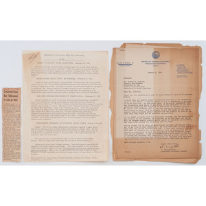 [CIVIL RIGHTS]. Letters regarding segregation in North Carolina with associated materials.