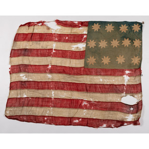 [FLAGS & PATRIOTIC TEXTILES]. 13-Star American flag descended in the Custer and Begeal Families. [Ca early-mid 19th century].