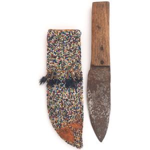 Sioux Beaded Hide Knife Sheath, with Knife