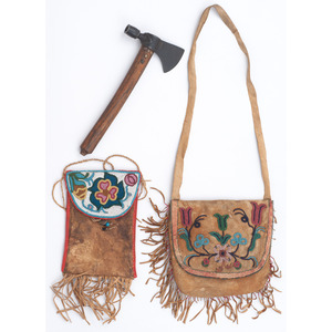 Plains Cree Beaded Hide Bags, with Pipe Tomahawk