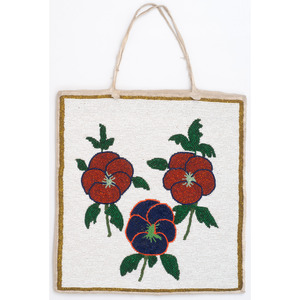 Plateau Beaded Hide Flat Bag, with Poppies