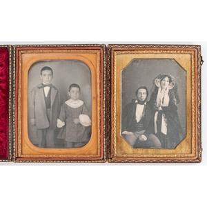 [DAGUERREOTYPE - PORTRAITURE]. MOISSENET, Felix, photographer. Two quarter plate daguerreotypes of possible Creole parents and their sons. New Orleans, [ca 1856-1858].