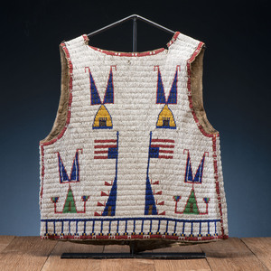 Sioux Beaded Hide Vest, with Inverted American Flags