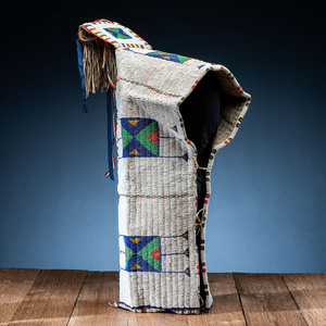 Sioux Child's Beaded Hide Cradle