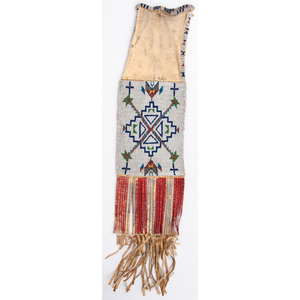 Sioux Beaded Hide Tobacco Bag, with Inscription