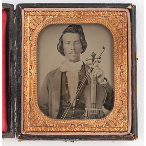 [AMBROTYPE - PORTRAITURE]. Sixth plate ambrotype of fiddler, possibly from Louisiana. N.p., n.d.