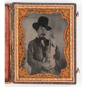 [AMBROTYPE - PORTRAITURE]. Quarter plate ambrotype of a possible Cajun man with fiddle. N.p., n.d.