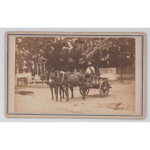 [AFRICAN AMERICANA]. MCPHERSON & OLIVER, photographers. CDV of African American man driving 3-mule cart. Baton Rouge, [ca 1860s].