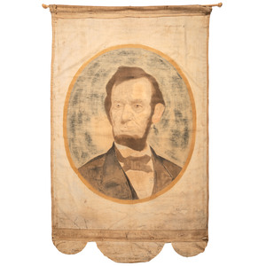 [LINCOLNIANA]. Abraham Lincoln banner possibly made for the 1864 presidential campaign.