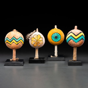 Pueblo Polychrome Gourd Rattles, From the Collection of Dick Jemison, Alabama