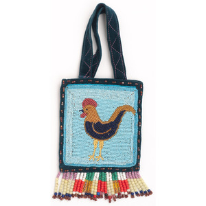 Yakima Beaded Flat Bag, with Rooster