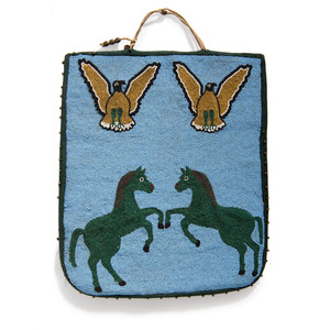 Plateau Beaded Flat Bag, with Horses and Eagles