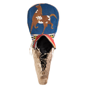 Plateau Child's Beaded Hide Cradleboard, with Pinto Horse