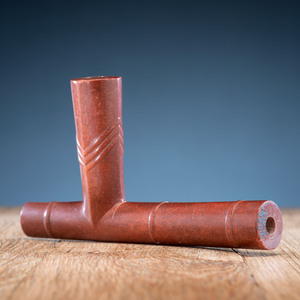 Western Great Lakes Polychrome Pipe Stem, with Catlinite Bowl