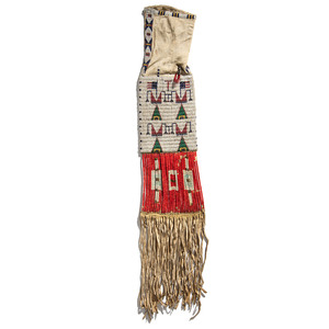 Sioux Beaded Hide Tobacco Bag, with American Flags
