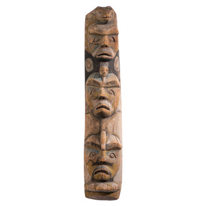 Nuu-chah-nulth Carved and Painted Wood Ancestral Pole