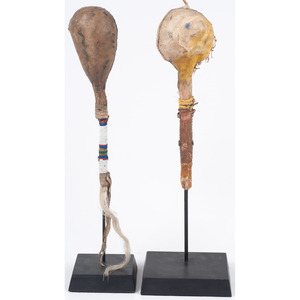 Pair of Plains Hide Rattles, From the Collection of Dick Jemison, Alabama