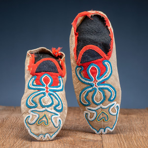 Athapaskan Beaded Soft Sole Moccasins, Collected by U.S. Special Agent Johnson N. High (1842-1909)