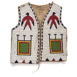 Sioux Child's Beaded Buffalo Hide Pictorial Vest