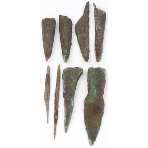 A Group of Old Copper Culture, Socketed Points, Knives, and Awls