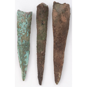 Three Old Copper Culture Socketed and Conical Points