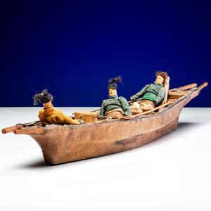 Greenlandic Inuit Umiak with Rowers