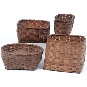 Northeastern Split Ash Baskets, with Potato Stamped Decorations