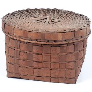 Northeastern Split Ash Lidded Basket, with Potato Stamping
