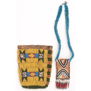 Northern Plains Beaded Hide Pouch, PLUS