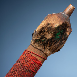 Sioux Quilled Pipe Stem, with Inlaid Catlinite Bowl