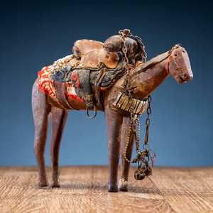 Carved Wooden Toy Horse, with Tack