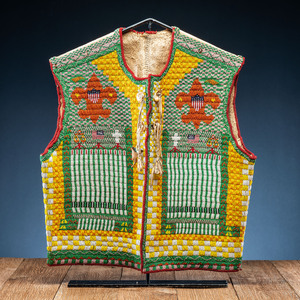 Northern Plains Beaded Hide Vest, with Boy Scout Imagery