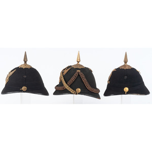 Lot of 3 Indian War Spiked Helmets