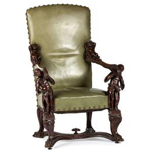 A Venetian Renaissance Style Carved Open Armchair