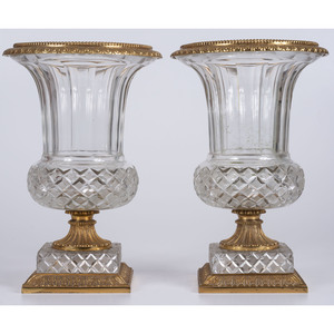 A Pair of Gilt Metal Mounted Cut Glass Urns