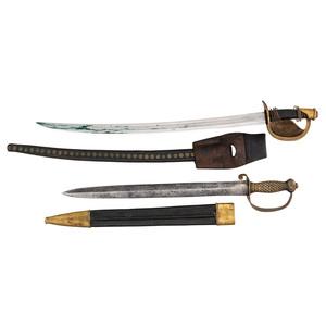 Lot of 2 U.S. Civil War-era Naval Cutlasses