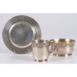 A Gorham Silver Child's Bowl, Plate and Mug